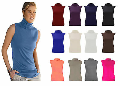 Womens Ladies Sleeveless High Turtle Polo Roll Neck Stretch Jersey Top Jumper