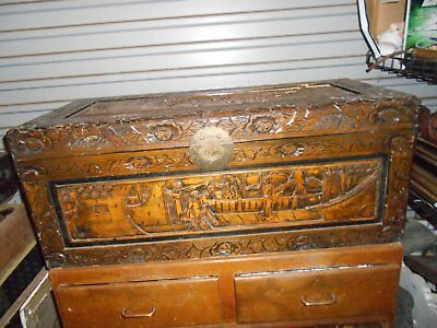 Antique Asian vintage carved wood chest trunk