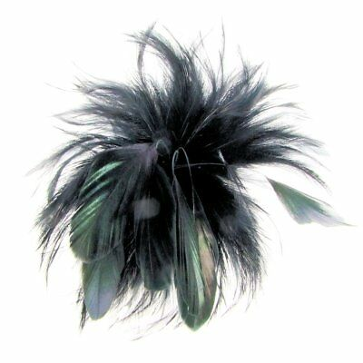 Cherry Feather Fascinator on Clip in Black (e7102blk)