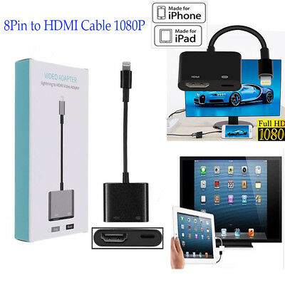 8 Pin to Digital AV TV HDMI 1080P Cable Adapter For iPad iPhone X 8 7 6 6s Plus