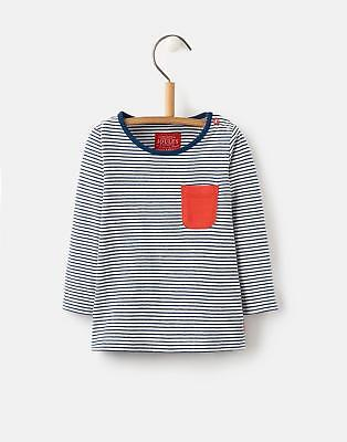 Joules Baby Boys Oscar Striped Top with Embroidery Detail in Navy Stripe