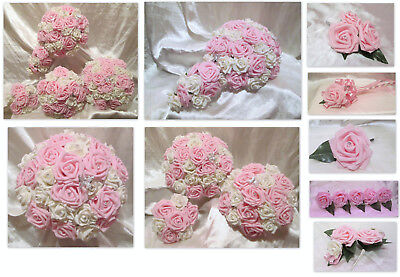 Wedding flowers baby pink and ivory or white roses bouquet posies wedding flowers baby pink and ivory or white roses bouquet posies wands corsages mightylinksfo