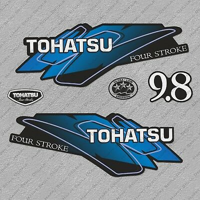 Tohatsu 9.8HP Four Stroke Outboard Engine Decals Sticker Set reproduction 9.8 HP
