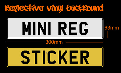 Stick On Mini Number Plate W/ Boarder 300mm - numberplate sticker reflective