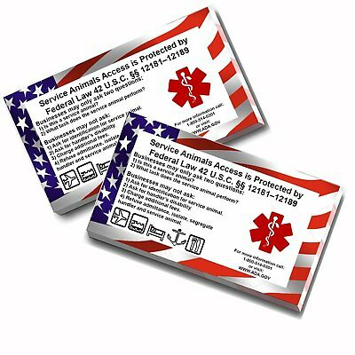 50 ADA Service Dog Info Cards - use with Vest, ID Badges or Tags