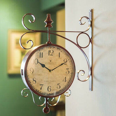 Antique Hanging Clock Wall Mounted Double Sided Garden Hallway Outdoor Station