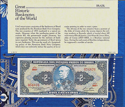 Great Historic Banknotes Brazil 1958 2 Cruzeiros UNC P157Ac serie 986A