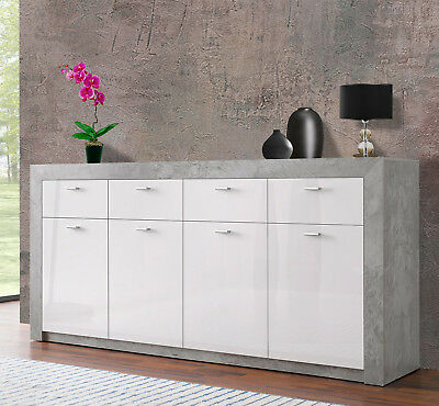 sideboard mirror kommode wei hochglanz grau inkl led eur 299 95 picclick de. Black Bedroom Furniture Sets. Home Design Ideas