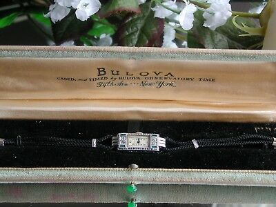 1920's  Ladies Art Deco 14K Emerald & Diamond Watch ~ Original Case~ Runs