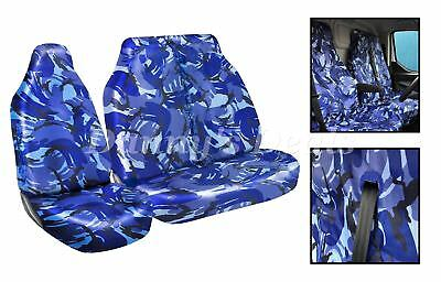 SINGLE DOUBLE RENAULT MASTER 2010 DELUXE BLUE PIPING VAN SEAT COVERS HEAVY