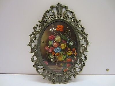 Vtg Victorian Convex Oval Ornate Metal Framed Floral Wall Art Hanging Italy RD