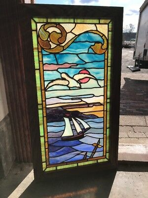 Sg 2086 Antique Painted And Fired Seagull Sailboat Anchor Stainglass Window