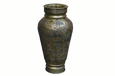 Antique Mamluk/Mameluke Inlaid Brass Vase