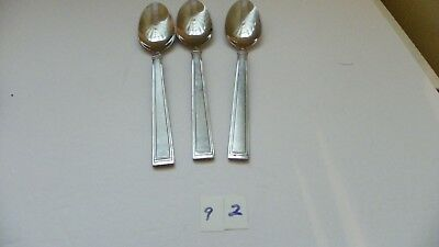 Set Of 3  Hampton  Portfolio  Satin  Oval Soup Spoons Stainless Flatware