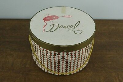 Vtg Cardboard Darcel Exclusive Hat Box Red and Gold Diamond Pattern w Handle