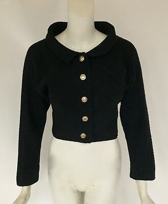 Rare Vintage 1940s Claire McCardell Black Boucle Wool Crop Jacket