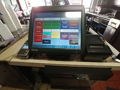 MICROS POS Workstation 5A With E7 Computer & HD Monitor,CC Reader & MICROS Stick