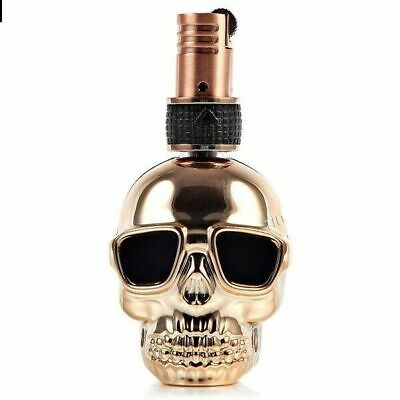 Lighter Skull design Floating Flame Butane Gas Refillable Cigarette Gold