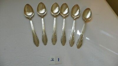 Set Of 6   International  Roberta Oval Soup Spoons   R.c. Co  Silver Plate