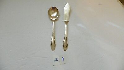 International  Roberta   Master Butter Knife & Sugar Spoon 1938  Silver Plate