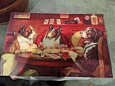 Vintage 3 Dogs Playing Poker / Cards  Metal Sign