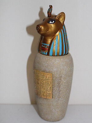 "Beautiful Signed 2001 VERONESE Egyptian Style Urn 7-3/4"" Vase with Lid"