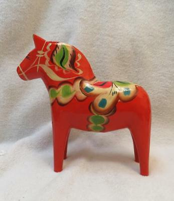 "Vintage Dala Horse Swedish Folk Art  Sweden Red Hand Painted 6""  ca 1966"