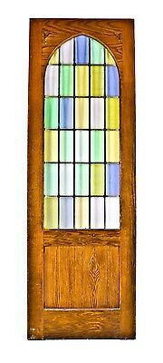 1929 Lutheran Church Interior Oak Vestibule Doors W/ Cathedral Art Glass