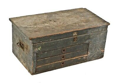 19Th Cent Portable Pine Railroad Roundhouse Mechanic's Tool Check W/ 3 Drawers