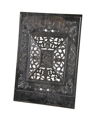 C. 1880's  Victorian Cast Iron Fireplace Summer Cover With Japanned Finish