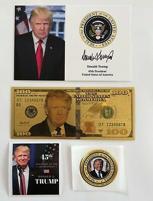 """1 President Donald Trump 4""""x6""""...on Card Stock...Photo Picture + 2 Decals + $100"""