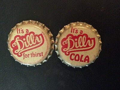 2 Different   Dilly Cola   Soda  Bottle Caps - Unused - Cork Lined