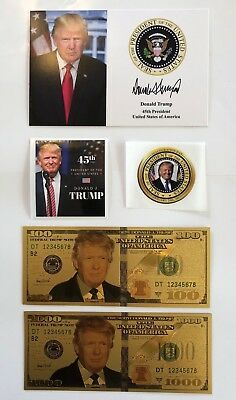 """1 President Donald Trump 4""""x6""""..on Card Stock..Photo Picture+ 2 Decals + 2 Bills"""