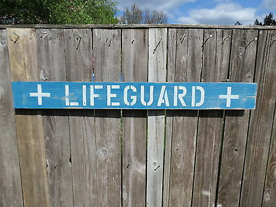 48 Inch Wood Hand Painted Lifeguard Sign Nautical Seafood (#s465)