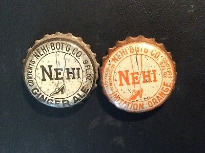 2 Different  Nehi     Soda  Bottle Caps  - used   - Cork  Lined