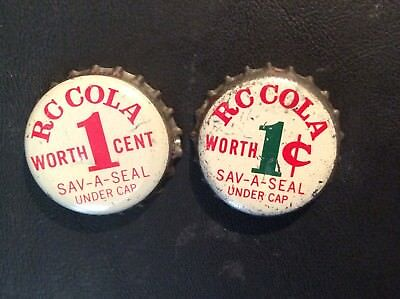 2 Different  R C  Cola     Soda  Bottle Caps  - used   - Cork  Lined