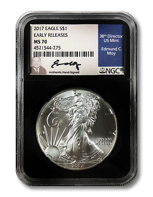 Ed Moy Hand-Signed 2017 Silver Eagle S$1 - NGC MS 70 Early Releases