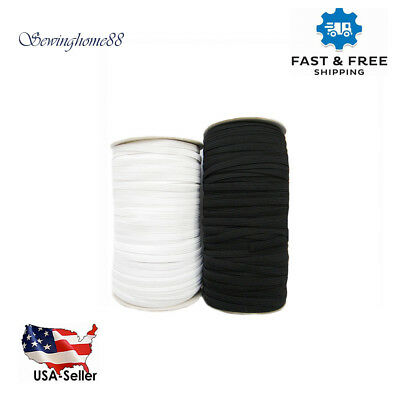 "Knitted Elastic Black/White 1/8"" to 3/4"" for waistbands sleeves underwear skirts"