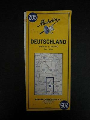 VTG Deutschland Germany 1969 Folded Road Map 39X43 Michelin 205