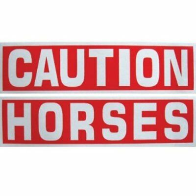 Caution Horses Reflective Sticker For Horse Trailer Equine Safety Decal Set of 2