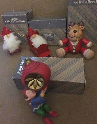 Vintage Avon 4 Christmas Ornaments  with Frolicking Santa's Elf Reindeer Boxes