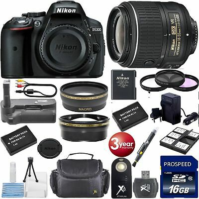 Nikon D5300 24.2 MP DSLR Camera - Kit w/ 18-55mm VR Battery Grip 16GB Bundle+XTR