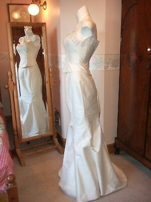 NEW BNWT SILK IVORY GOLD PEARL EMBROIDERED Wedding dress fishtail 12 14 VTG