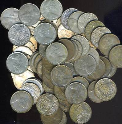 50 Australian 1966 Round Silver Fifty Cent Coins - FREE POST in AUSTRALIA!