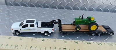 1/64 CUSTOM FORD F350 John Deere dealer 5th wheel TRUCK trailer 4020 ERTL toy