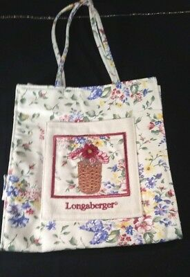Longaberger Small Tote Shopper Lunch Bag Homestead Flowers with Pocket