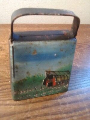 Vintage Metal Cow Bell with Hand Painted Farm Scene on the Front