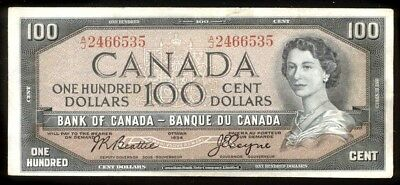 bucksless 2094: CANADA $100 DOLLARS 1954  MODIFIED HAIR STYLE '' 1954, P-82a