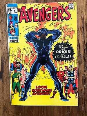 AVENGERS #87 (Marvel 1971) Origin Of The Black Panther VG+ *HOT BOOK*