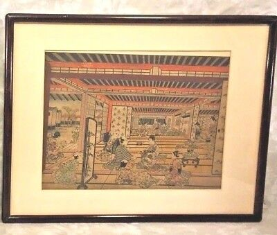Antique Colored Asian Wood Block Prints by Furuyama Moromasa 1700s in Frames